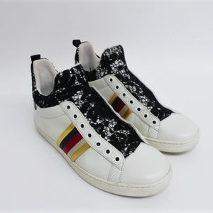 Gucci Ace Lace and Leather High Top Sneakers